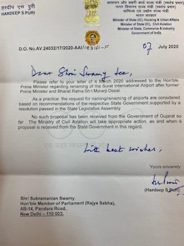 Dr Subramanian @Swamy39 raises with Civil Aviation Ministry the issue to name Surat Airport as Morarji Desai International Airport, Central Govt ask for Resolution of Gujarat State Assembly, time for Gujarat Govt to take proposal forward & expedite the issue