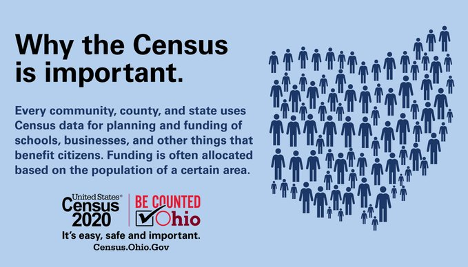 Have you taken the 2020 Census? Make sure you are counted! Talk to your friends and family to make sure they've been counted too! The deadline is September 30. Visit  today! #BeCountedOH2020