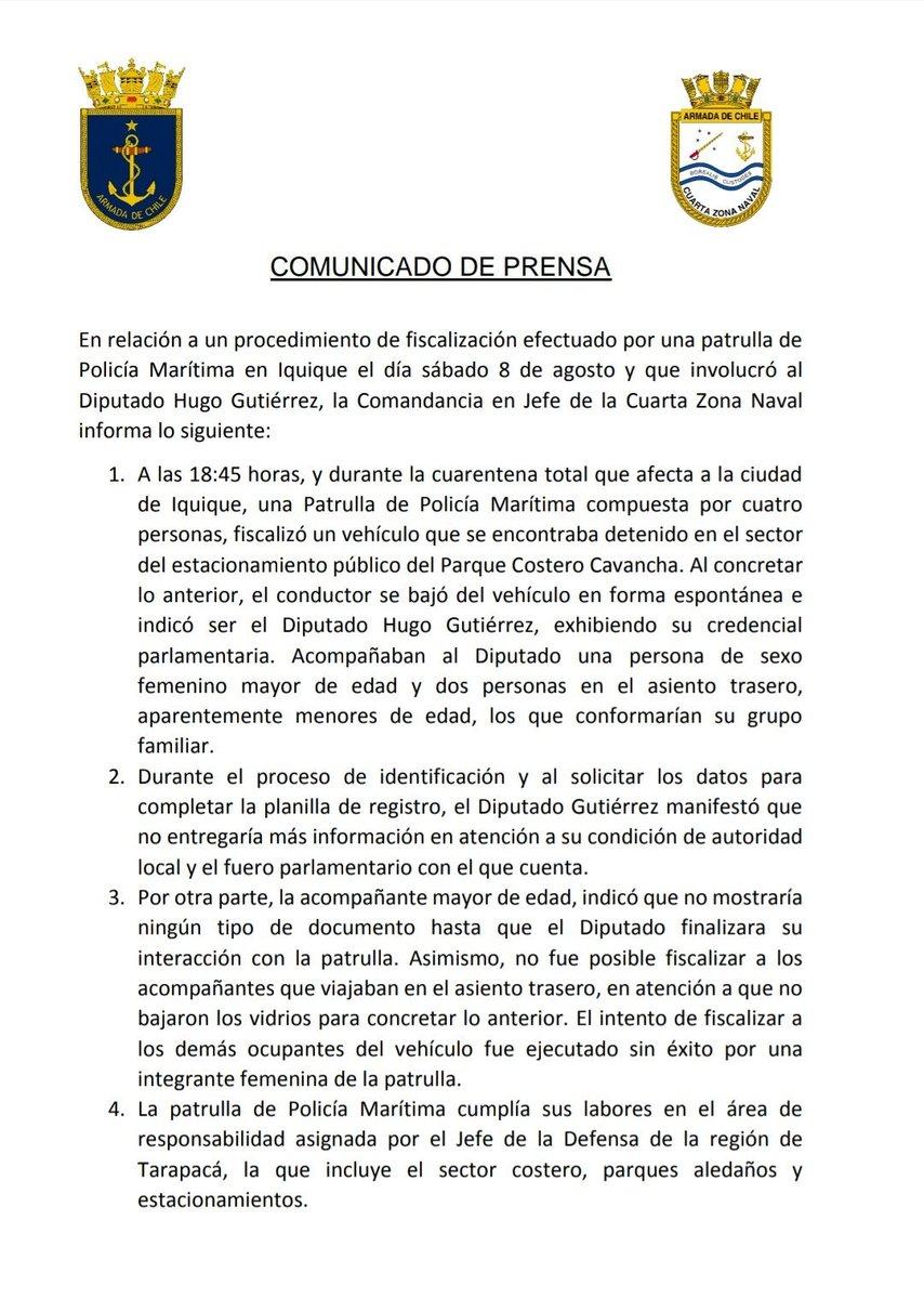 🟢 Armada confirma denuncia a fiscalía por rebeldia de diputado Hugo Gutierrez en fiscalización Covid. #HugoGutierrez #LaintocableGutierrez #Armadadechile #VenceroMorir