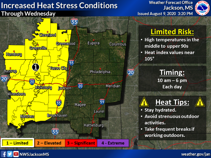 High temperatures in the middle 90s, combined with very humid conditions, will create heat index values near 105 degrees through Wednesday.