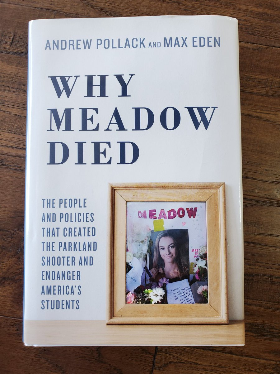 "I am trying, again to read ""Why Meadow Died"" by @AndrewPollackFL. It absolutely breaks my heart. Every time I pick it up to read it, I tear up & I get angry. We need to remove corrupt law enforcement, secure our schools & focus on mental health issues. #Fixit #2A"