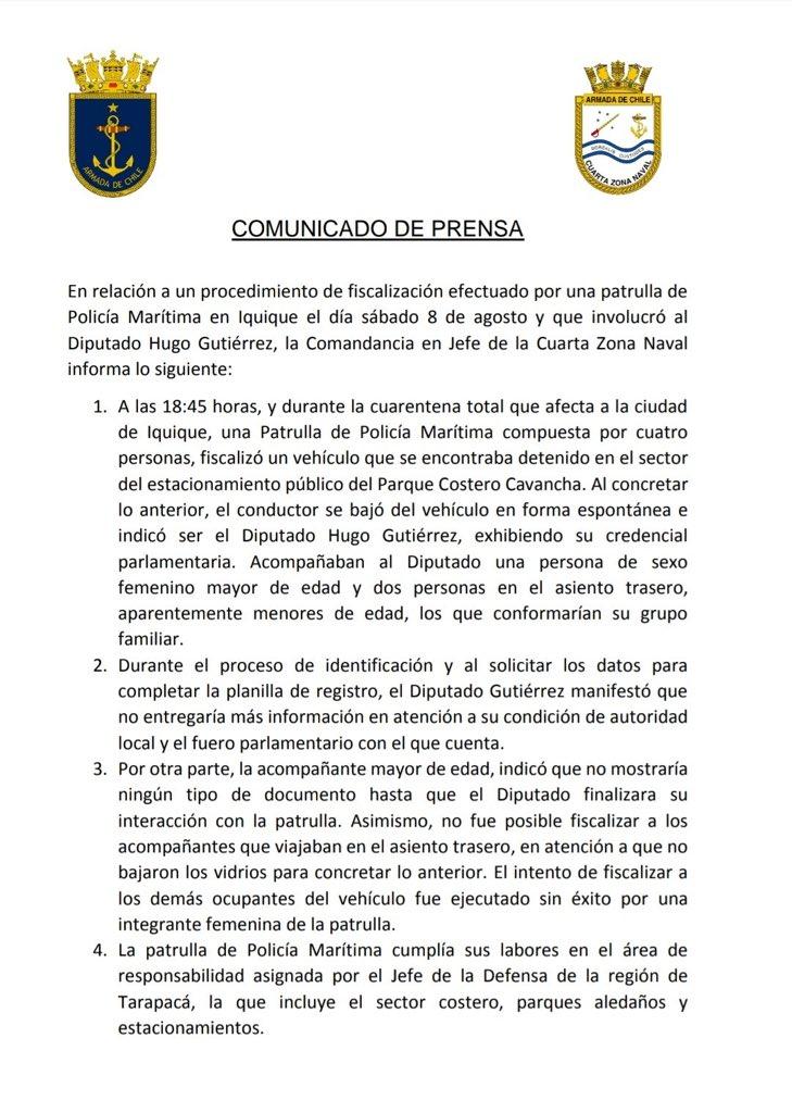Comunicado de prensa por Fiscalización de la Autoridad Marítima en Iquique  👉🏻