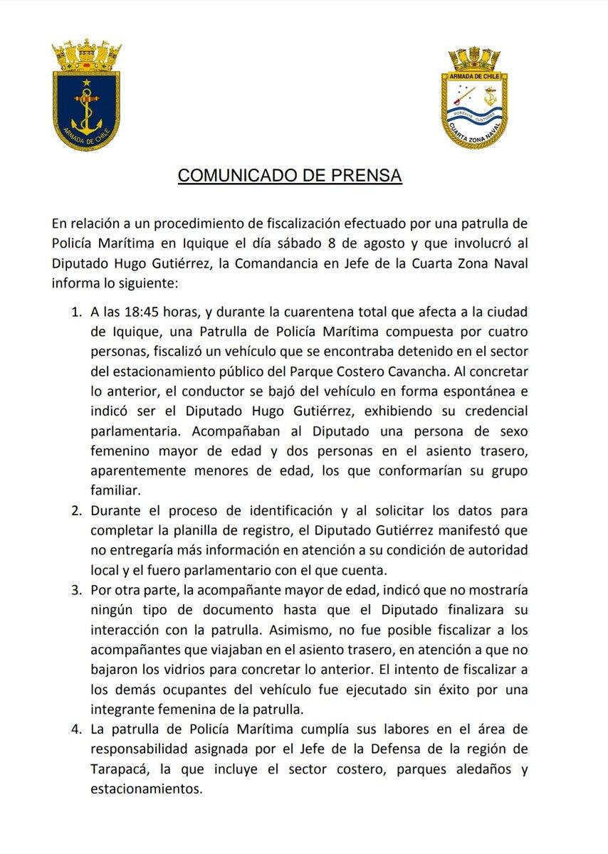 La armada ahora procede informando a la fiscalia por acción de Gutierrez....hasta ahí llego todo