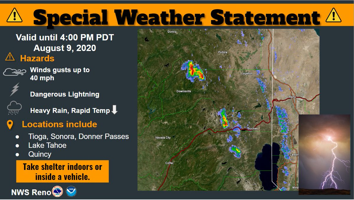 3 pm: Time to get off the mountain or out of the lake! Thunderstorms developing over the Sierra and will continue through the afternoon. Details: