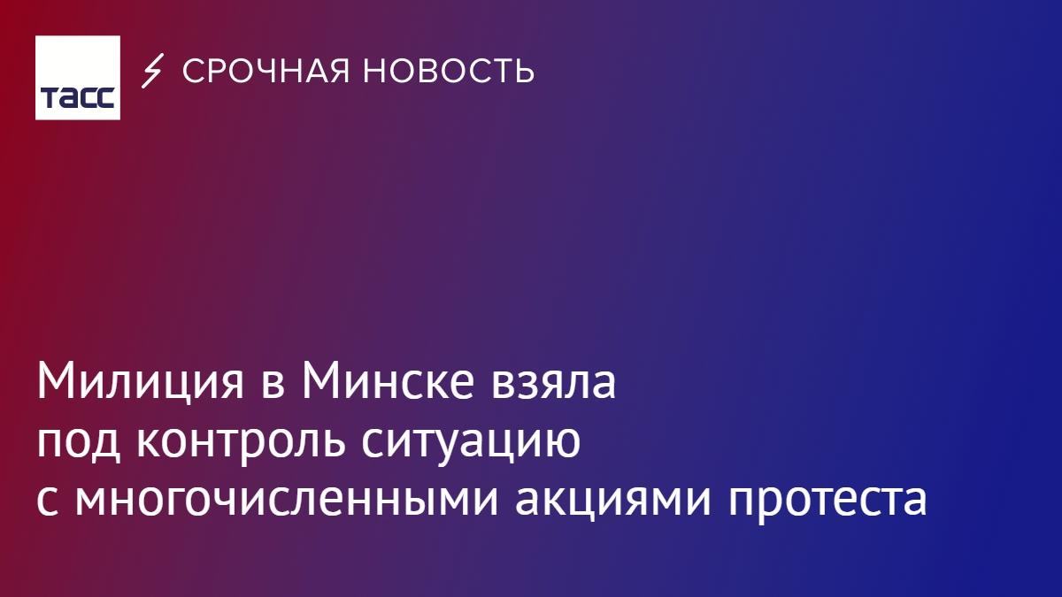 Милиция в Минске взяла под контроль ситуацию с многочисленными акциями протеста, сообщает БелТА со ссылкой на МВД Белоруссии: