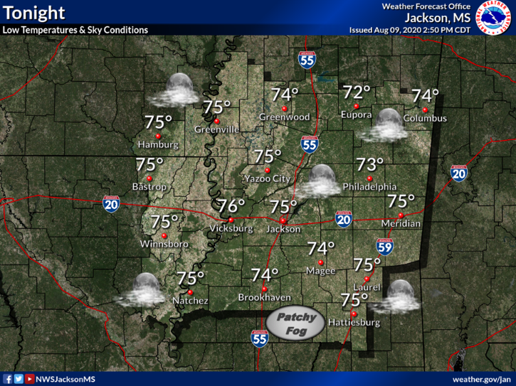 Mostly clear skies are expected again tonight, with low temperatures mainly in the low to mid 70s.