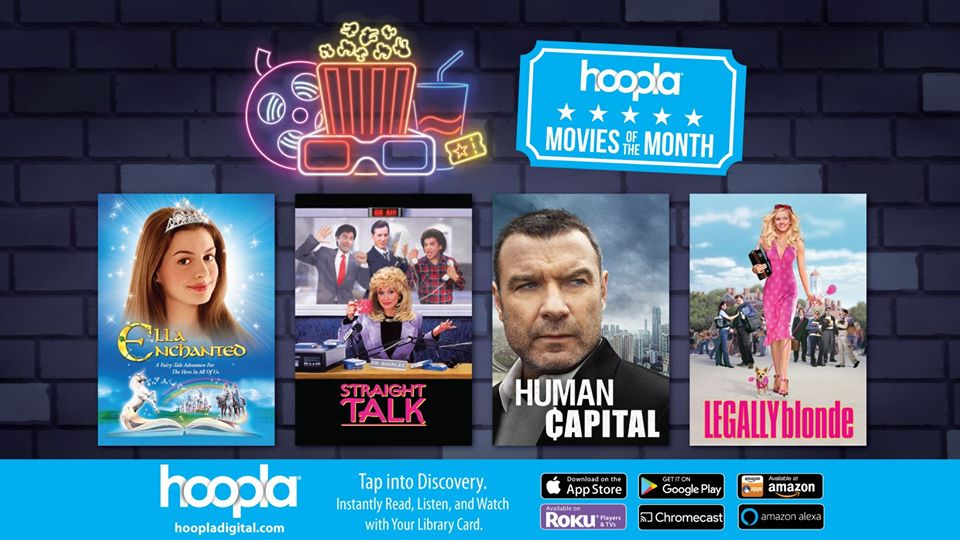 Check out Hoopla's Movies of the Month. To watch them, sign up with your library card. We're torn between Straight Talk and Legally blonde; don't judge.   🎬