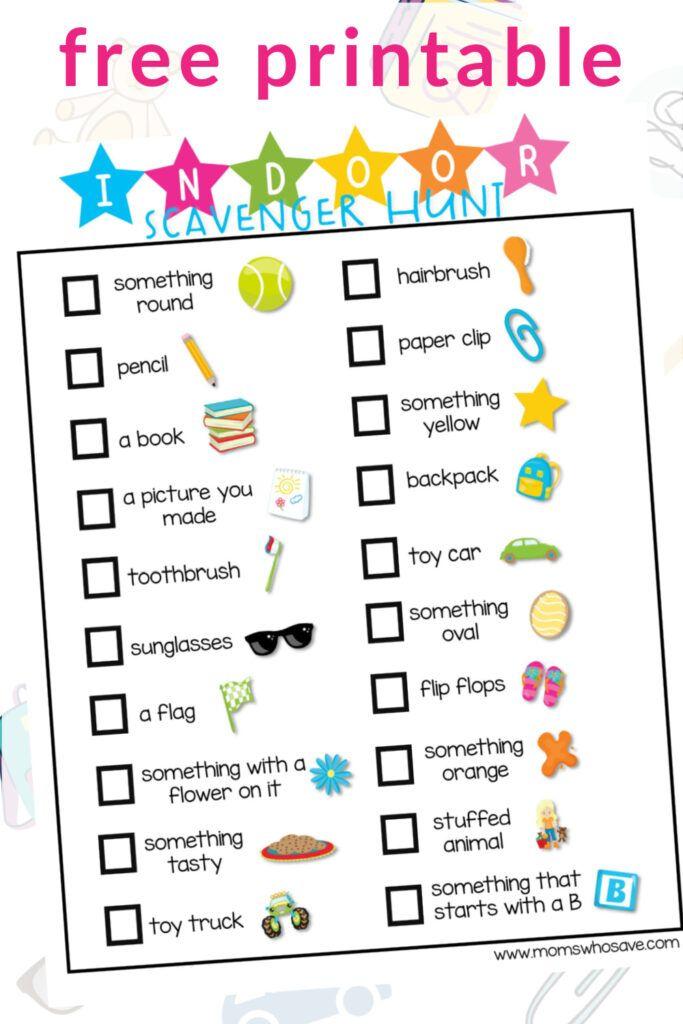 Parents, Pick up This Indoor Scavenger Hunt List Printable  👉   #printables #free