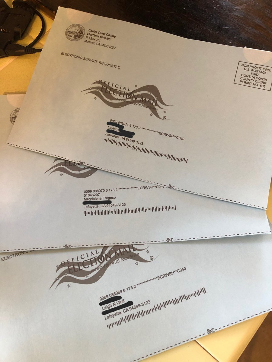 (1) This is the potential for voter fraud that @realDonaldTrump is warning about with universal mail in voting.   My mother received 3 pieces of mail, asking for updated signatures, for 3 people who don't live at her address.   Me, my brother, and someone we've never heard of.