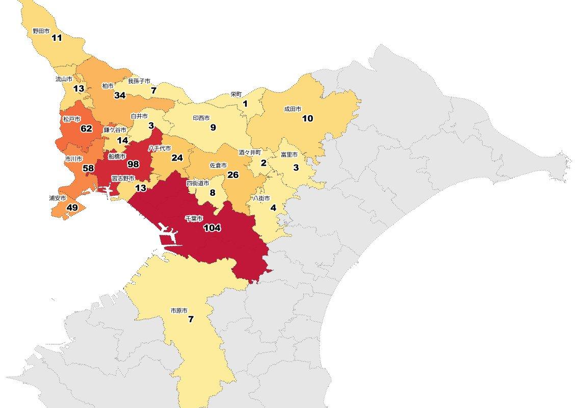 test ツイッターメディア - COVID-19 2020/08/10 ②市町村別の経路不明感染者数(千葉県北西部・5月24日~8月10日発表分まで)。行政界は国土数値情報の行政区域データを使用。  増加: 5名:船橋市 3名:市川市、浦安市 2名:千葉市 1名:野田市 https://t.co/HhUxYwb7pW