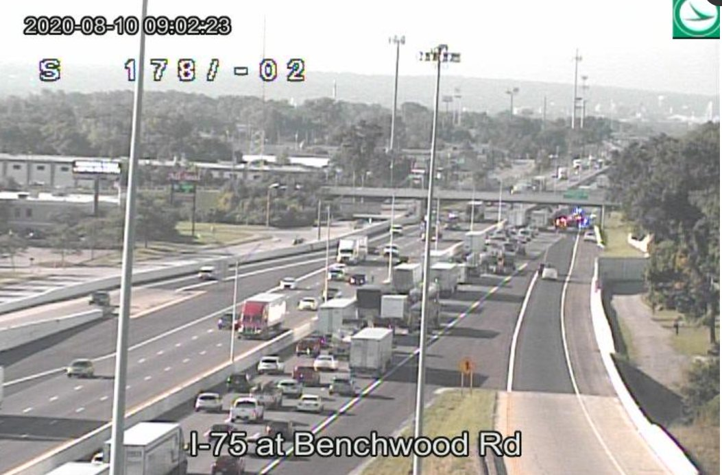 TRAFFIC ALERT: the right lane of I-75 SB is closed just past the Benchwood exit. There is currently a crash in the area. Expect delays through this area. Check  for updates.