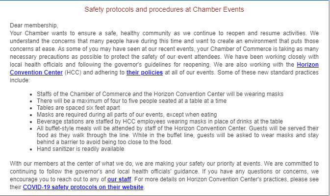 What is the Chamber doing to keep our event attendees safe? We are glad you asked!