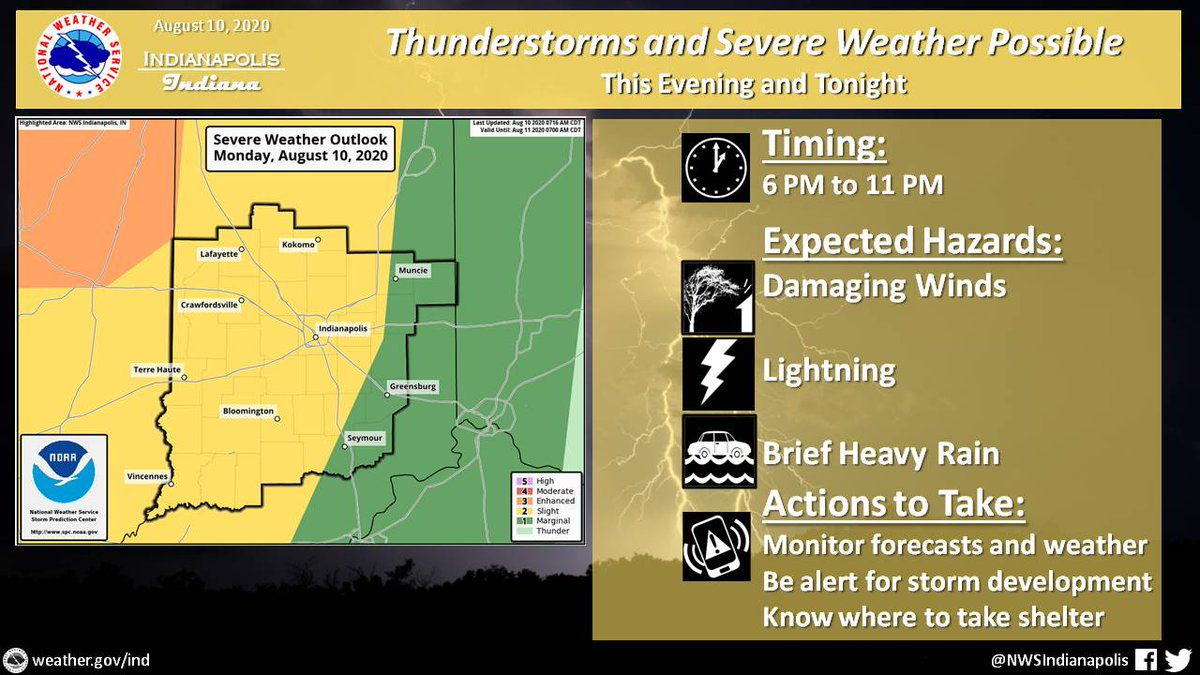NWSIndianapolis: Thunderstorms will move into NW Indiana this evening. Primary threat is damaging winds with frequent lightning and brief heavy rain also expected. Storms will weaken as they continue SE.  Additional storms possible late tonight, primaril…