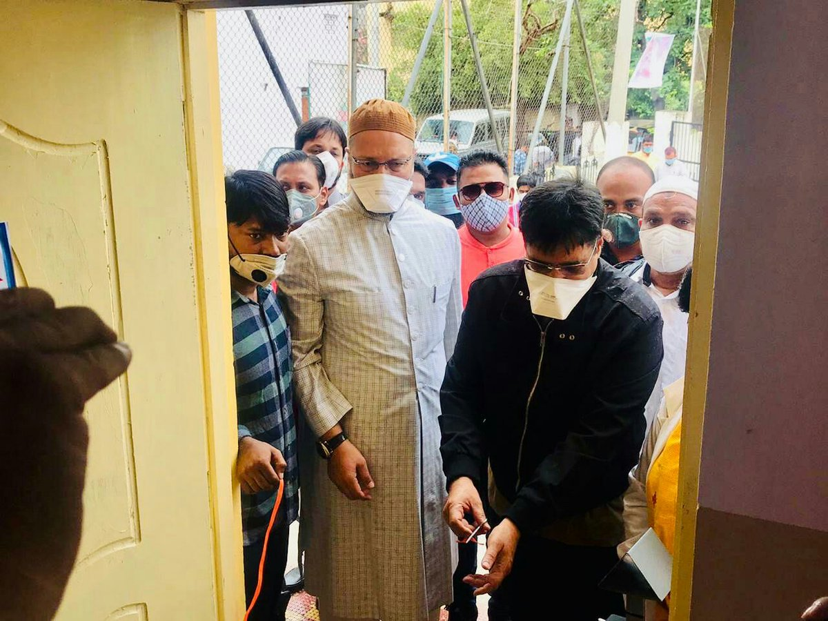 AIMIM President and Hyderabad MP Barrister @asadowaisi along with Malakpet MLA @balala_ahmed inaugurated Basti Dawakhana in Azampura Division and also inspected the Salar-e-Millat Tailoring Centre in Malakpet Constituency