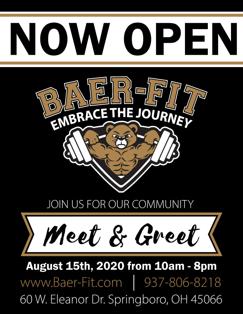 Join Baer-Fit for their Community Meet & Greet on Saturday, August 15th at 60 West Eleanor Drive in Springboro!