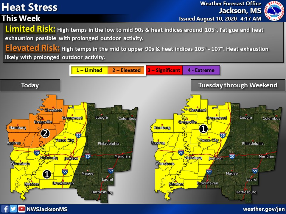 Heat stress will be a concern again today for the western portions of the area, especially the far northwest where a heat advisory is in effect from 11 am to 6 pm. The risk will continue for the next few days. Take precautions to avoid heat stress!