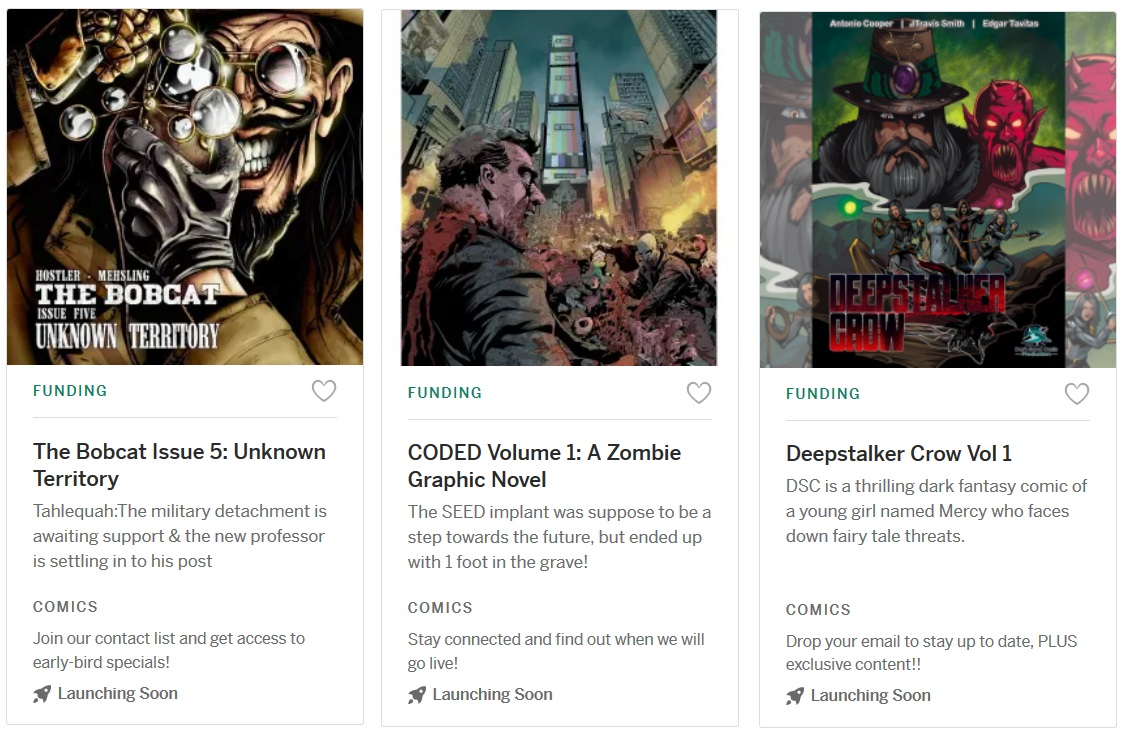 The Bobcat Issue 5: Unknown Territory   CODED Volume 1: A Zombie Graphic Novel   Deepstalker Crow Vol 1   #indie #ComicsForEveryone #indiegogo #crowdfunding  #comics #adventure #Upcoming #entertainment #horror