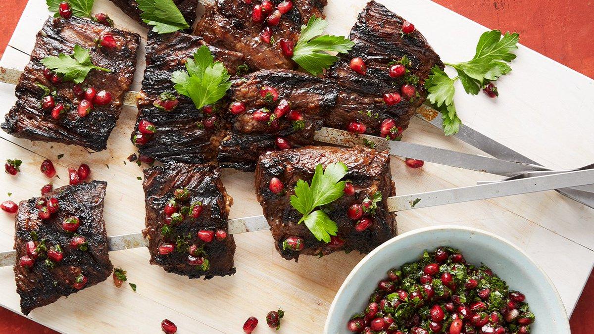 FOOD: Pomegranate Skirt Steak Kebabs  This pomegranate skirt steak kebabs recipe appears in the