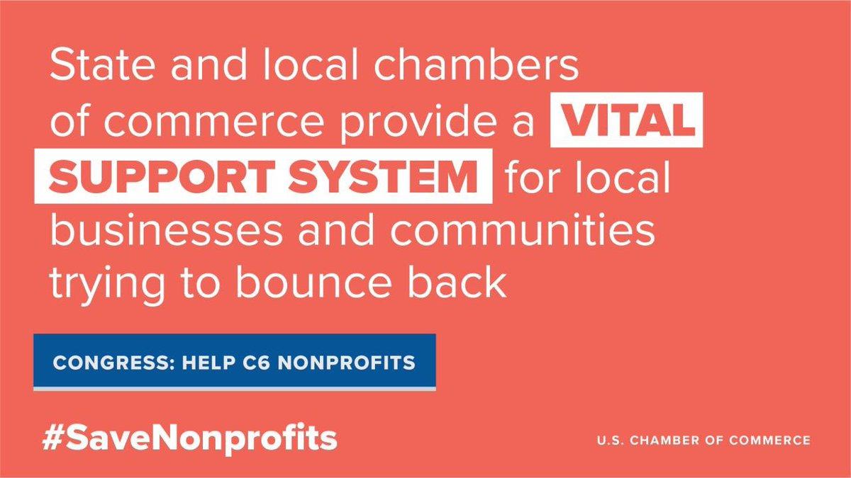 . @USChamber is leading Digital Days of Action today and tomorrow to rally voices to demand important measures make it into the next coronavirus relief package. What you can do:  #JobsNotLawsuits #SaveNonprofits