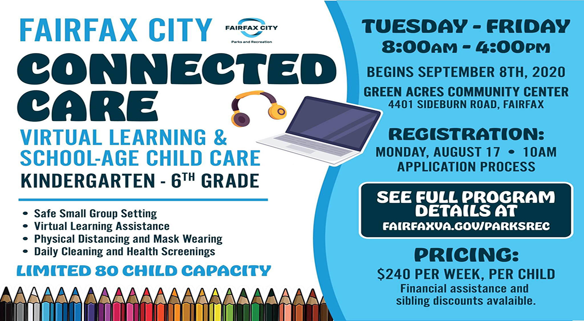 Check out Fairfax City Connected Care: virtual learning & school-age child care program operated by @FfxCityParksRec w/ @FairfaxSchools  to assist with child care needs for working families in #FairfaxCity while schools run under distance learning. Info: