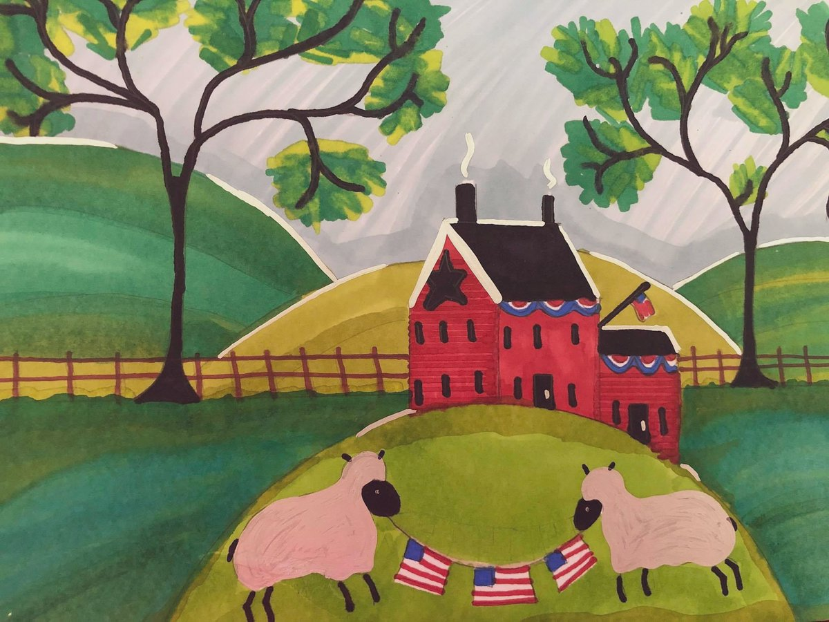Americana doodling....they're sheep, in case you're confused 🇺🇸