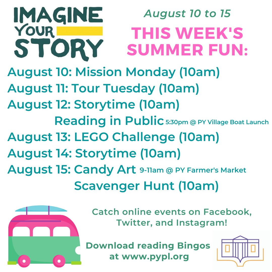 Another week of summer fun includes two great in-person programs! Check it out! #ImagineYourStory #PennYan #LibrariesFromHome