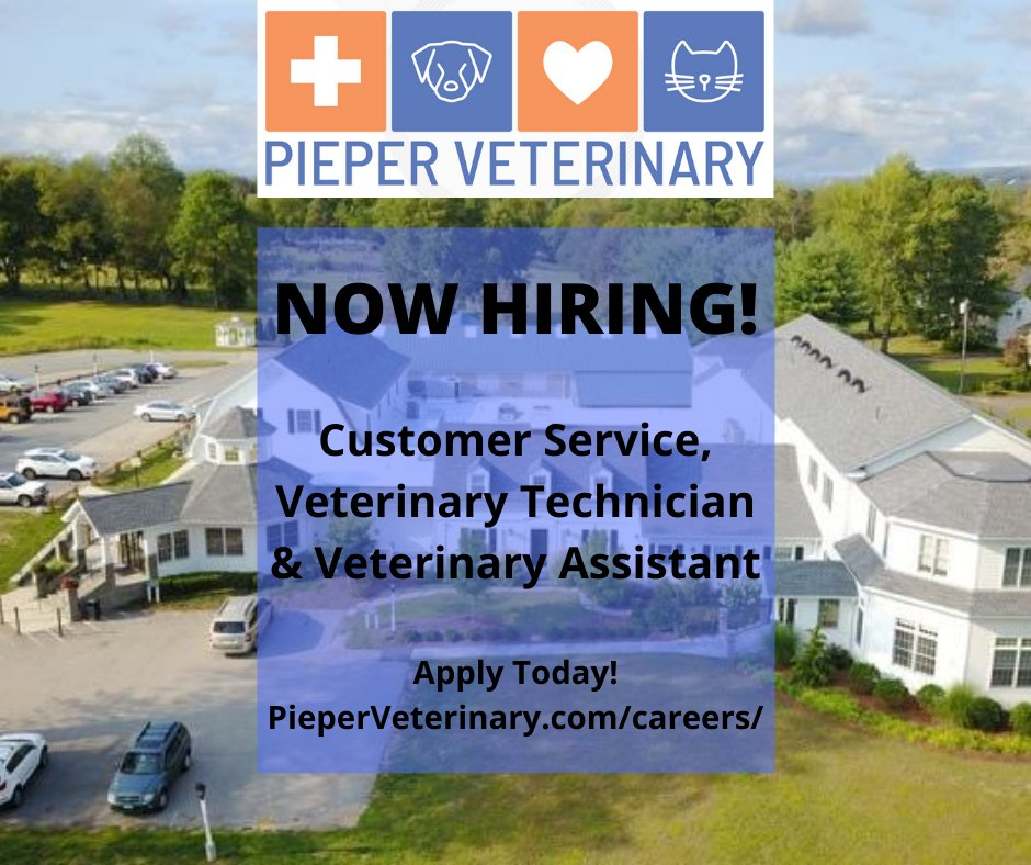 Love animals? Join the Pieper Veterinary team in Middletown, CT! They are currently seeking to hire a Veterinary Assistant, Veterinary Technician and someone for Front Desk Customer Service. Be part of a truly rewarding industry by applying today!  Apply: