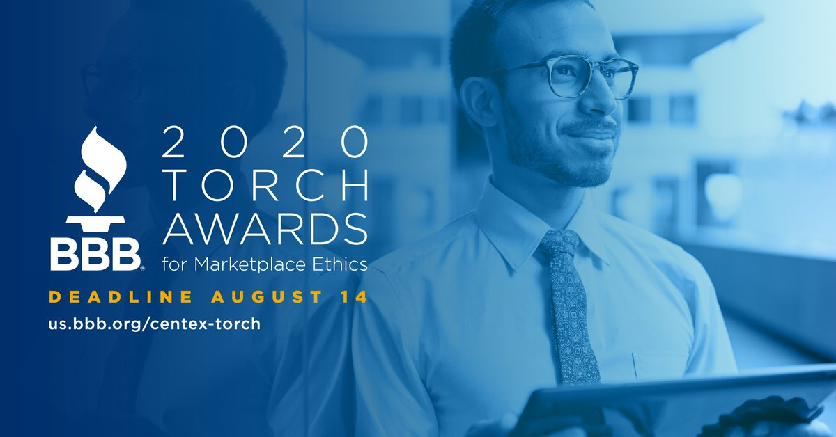 Right now, businesses are being challenged like never before. @bbb_us understands this & wants to recognize businesses that are keeping ethics & trust at the forefront of all they do with the BBB Torch Award for Marketplace Ethics. Apply at !