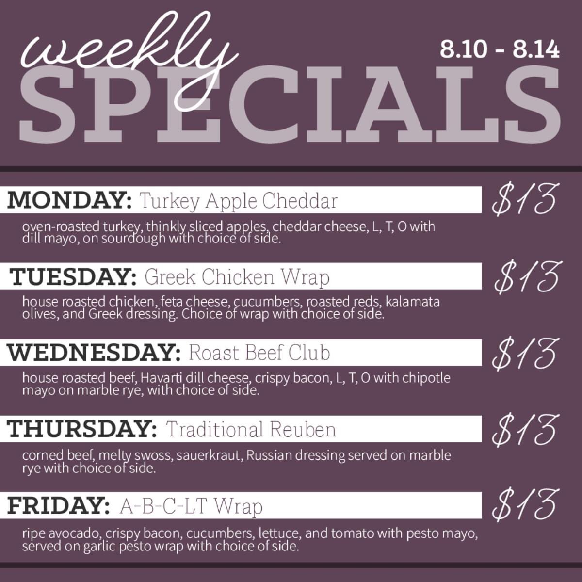Weekly specials from Spa Cafe on Broadway! #StrongerTogether #ilovesaratogacounty