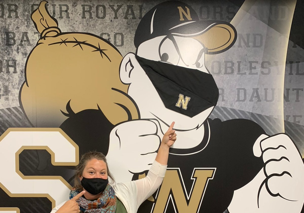 Even our Miller Man at NHS is masked up for safety! Find Noblesville Schools branded masks and other spirit items at