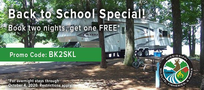 Join us for a camping adventure! Use promo code BK2SKL from August 1 through August 15 and enjoy 1 FREE night of camping when you book 2 nights on any available premium, standard or beach RV campsite.