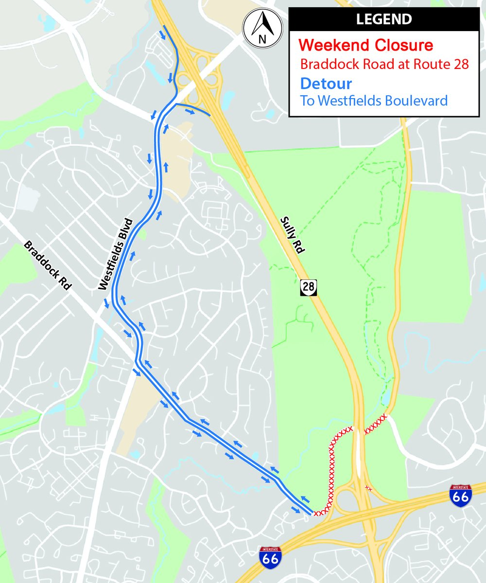 Centreville: Braddock Road to close between Newton Patent Drive and Route 28 for paving next weekend, Aug 14-17. More: