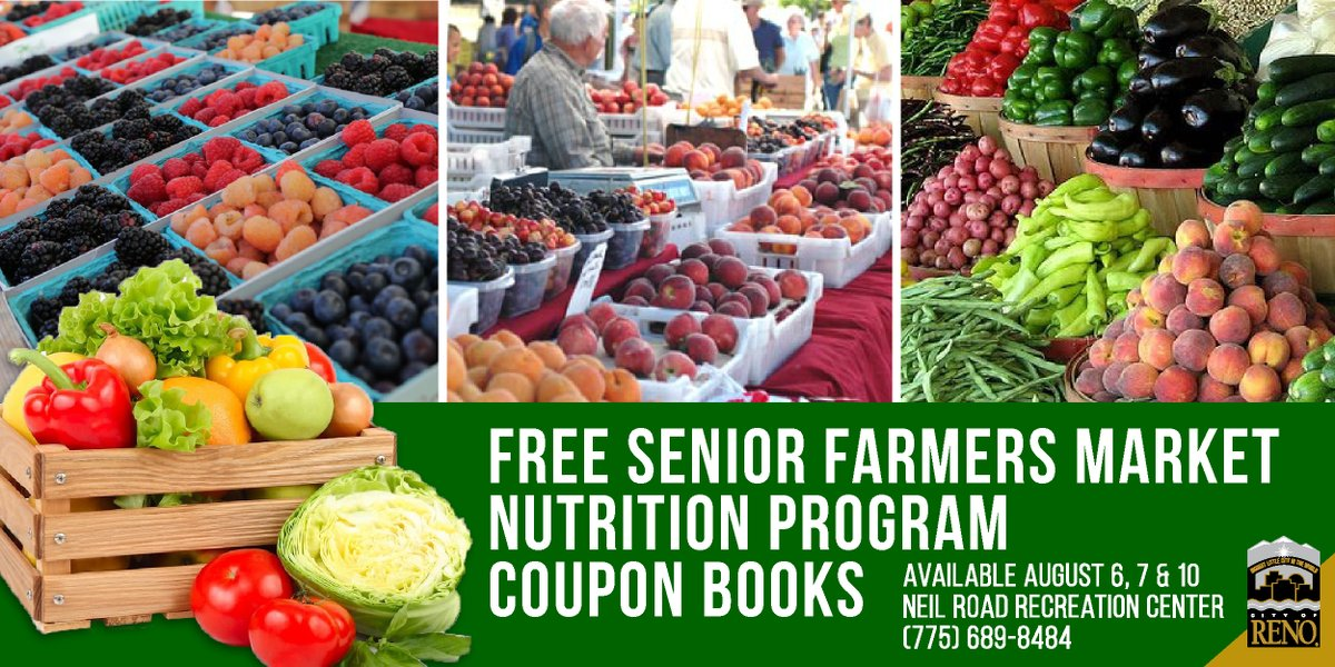 Today, Aug. 10, is last day to get Senior Farmers Market coupon books at the City of Reno Neil Road Recreation Center. For seniors at risk, someone else can pick up on your behalf with a letter & copy of ID. Call 775-689-8484 to check availability.   More: