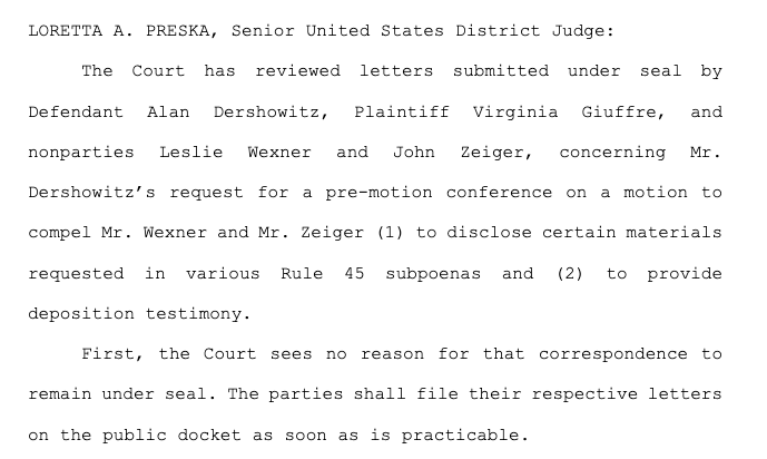 NEW:   A federal judge orders records unsealed in accuser Virginia Giuffre's litigation with Alan Dershowitz.   Those include letters by Giuffre, Dershowitz and Victoria's Secret CEO Les Wexner (plus the Wexner family's attorney John Zeiger).   cc: @CourthouseNews