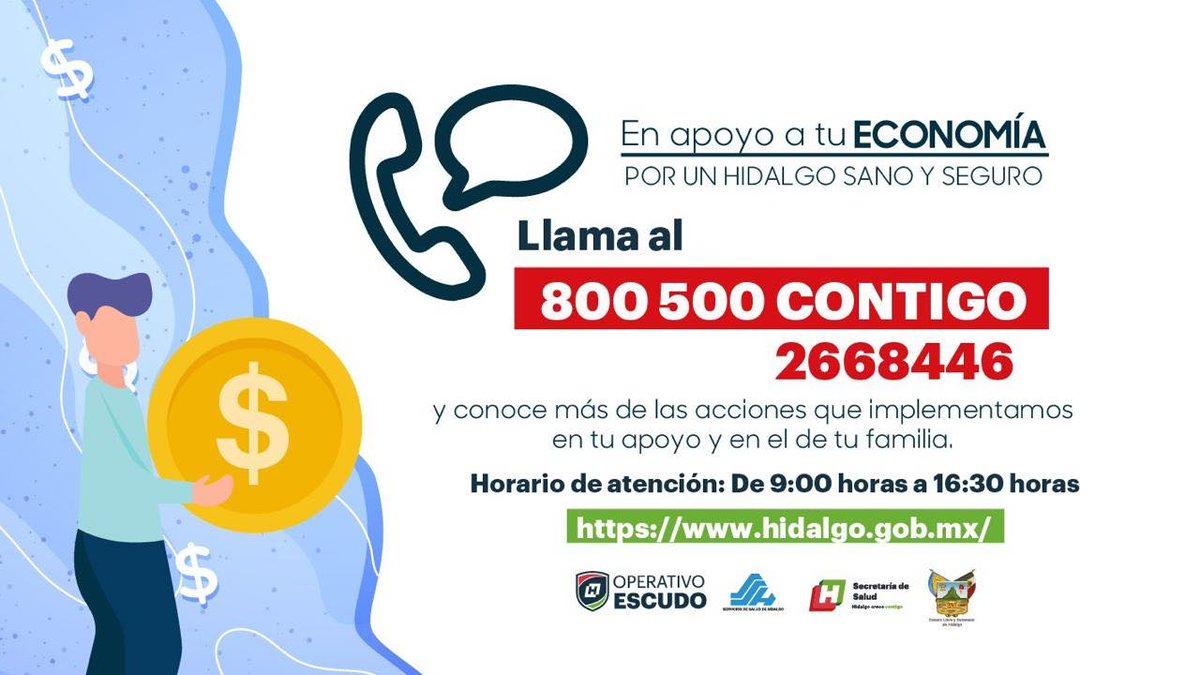 Si requieres más información sobre las medidas y acciones que puso en marcha el @gobiernohidalgo de @omarfayad ante la pandemia del #coronavirus #COVID19, llama al 800 500 CONTIGO (2668446). #OperativoEscudo