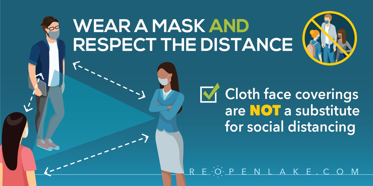 Help prevent the spread of #COVID19 by wearing a mask and keeping your distance from others. Remember: cloth face coverings are not a substitute for social distancing.
