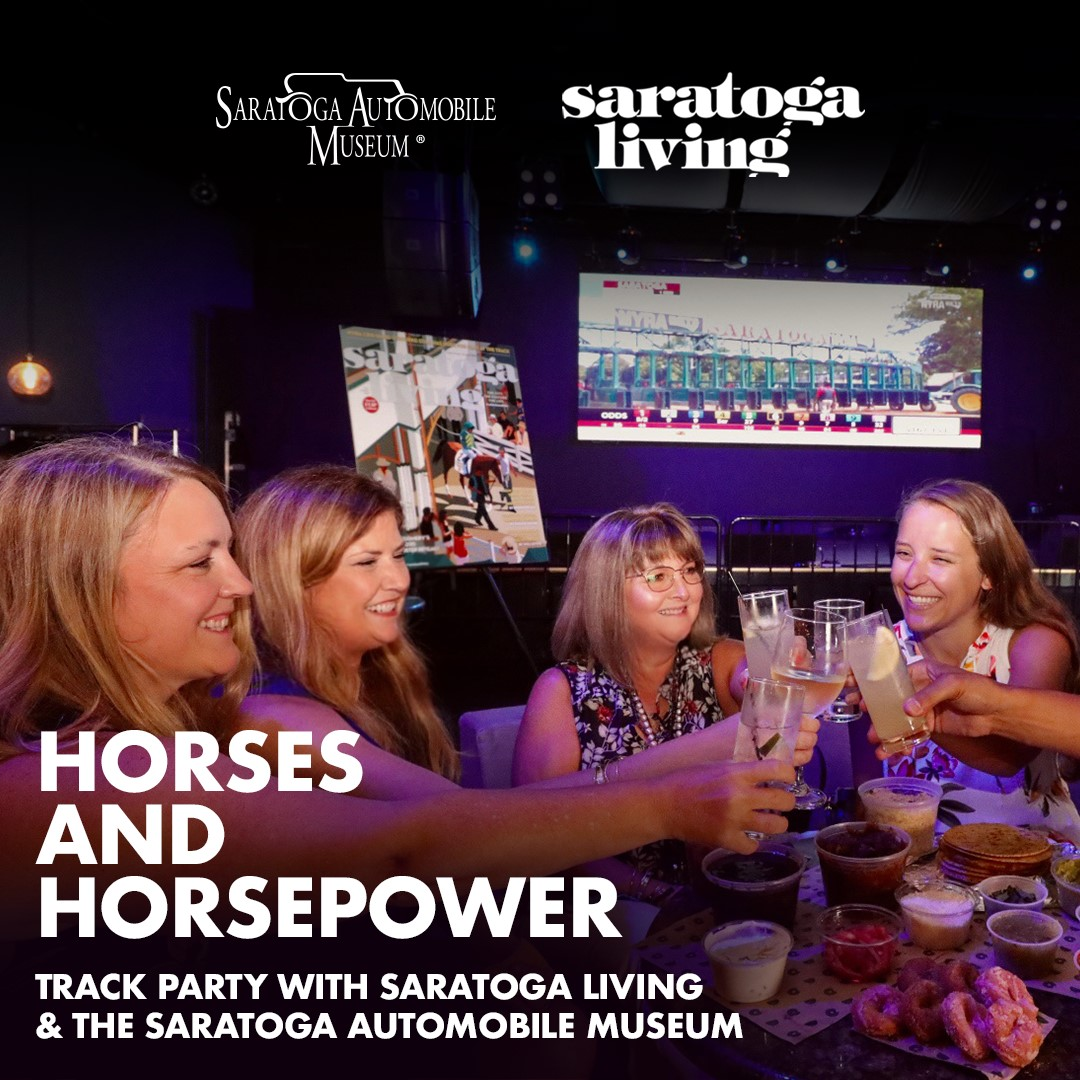 Join @togaautomuseum & @saratogaliving for Horses & Horsepower Track Party at @Putnam_Place, Thurs., Aug. 13 starting at 12 p.m.  Come watch races on largest TV in Upstate New York! Tickets:   * Safety procedures will be in place. Please follow protocols.