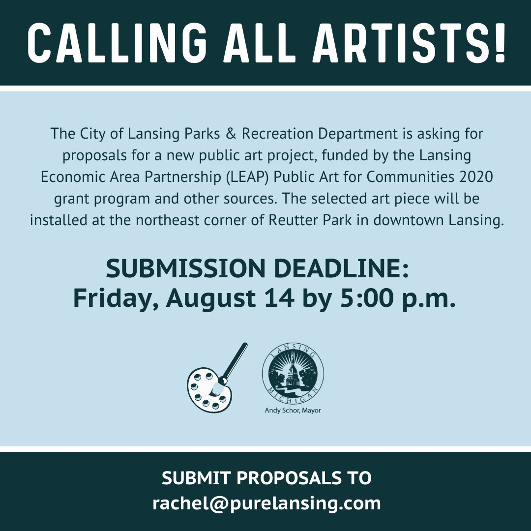 Don't forget that the deadline to submit proposals for an artwork piece downtown has has been extended to 5:00 p.m. on Friday, August 14th!  Click here:  to see the full press release.  Additional info: .