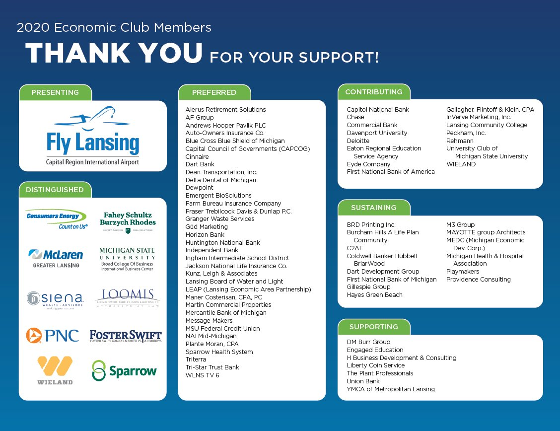 We would like to thank our distinguished sponsors. Your support is much appreciated!  #EconClub  Distinguished Sponsors:  @ConsumersEnergy  @McLarenGL  @SienaWealth  @PNCBank  @WielandBuilds @SparrowHealth  @Foster_Swift  @MSUBroadCollege  @fsbrlaw