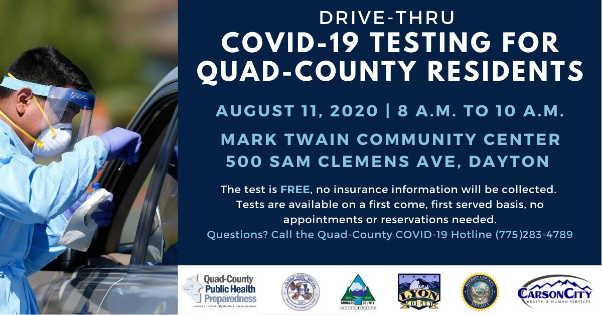 Drive-thru #COVID19testing event for Quad-County residents: 🔹 August 11, 8 a.m. to 10 a.m. 🔹Mark Twain Community Center (500 Sam Clemens Ave, Dayton) 🔹Test is FREE, no appointment needed More at:   #QuadCountiesNV #NVCOVIDTesting