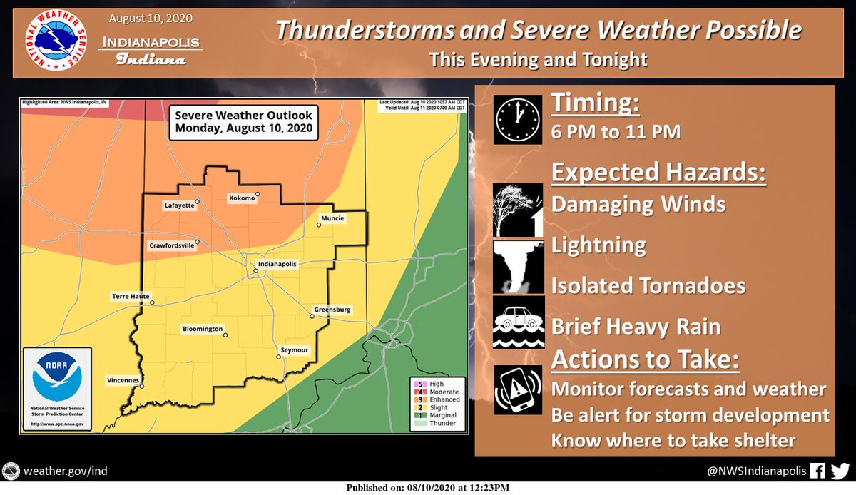 NWSIndianapolis: UPDATED: A complex of t-storms will move in from the NW this evening. The primary hazard will be damaging winds; isolated tornadoes cannot be ruled out, especially further north. This complex will gradually weaken as it moves southeast t…