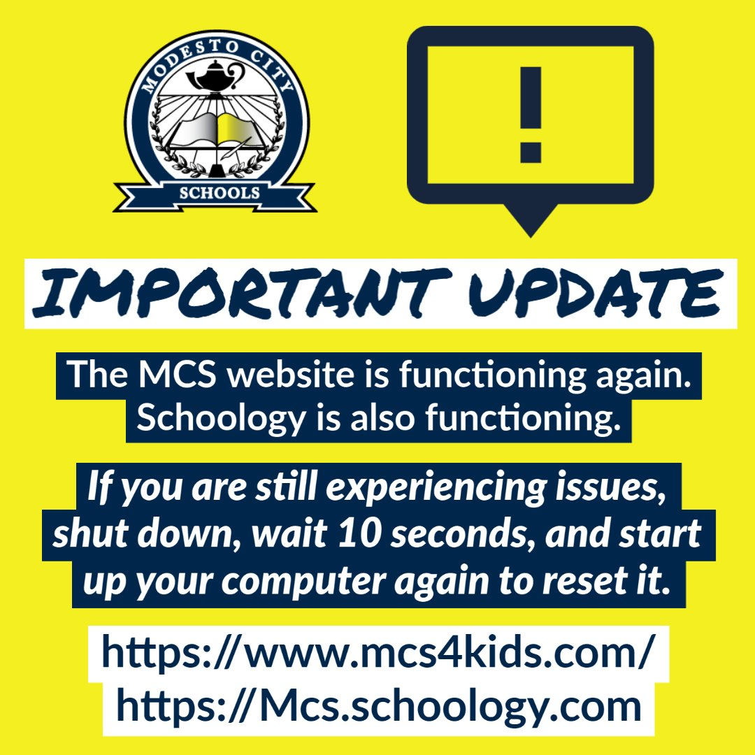 IMPORTANT UPDATE: The MCS website is functioning again. Schoology is also functioning.   If you are still experiencing issues, shut down, wait 10 seconds, and start  up your computer again to reset it.