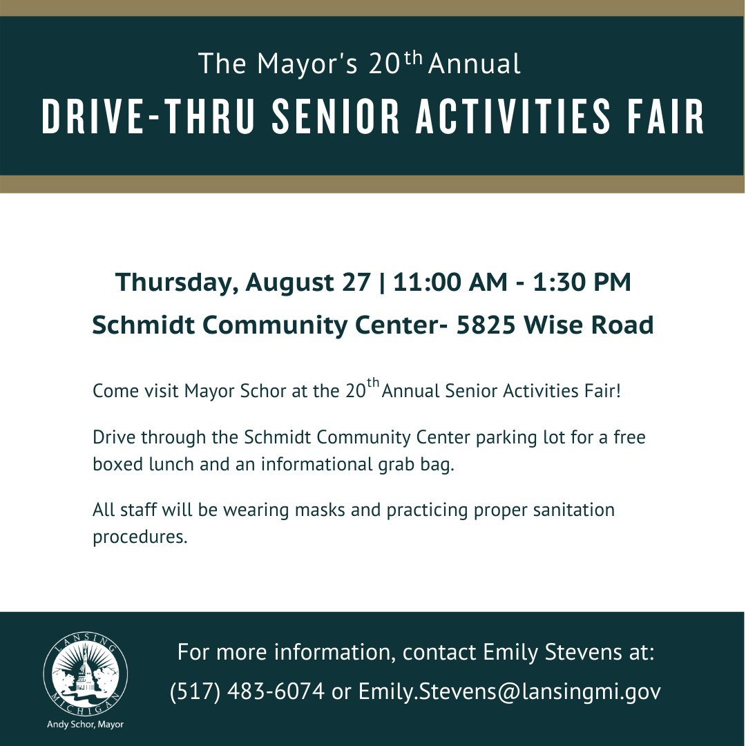 Mayor @andyschor today announced that the Mayor's 20th Annual Senior Activities Fair will be held as a drive-thru event on Thursday, August 27, 2020, from 11:00 a.m. to 1:30 p.m. at the Schmidt Community Center parking lot (5825 Wide Road).