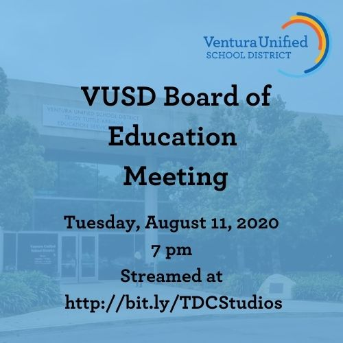 Our next regularly scheduled VUSD Board of Education Meeting will be tomorrow, Tues. August 11 at 7 pm. View the agenda at . View the meeting live at .