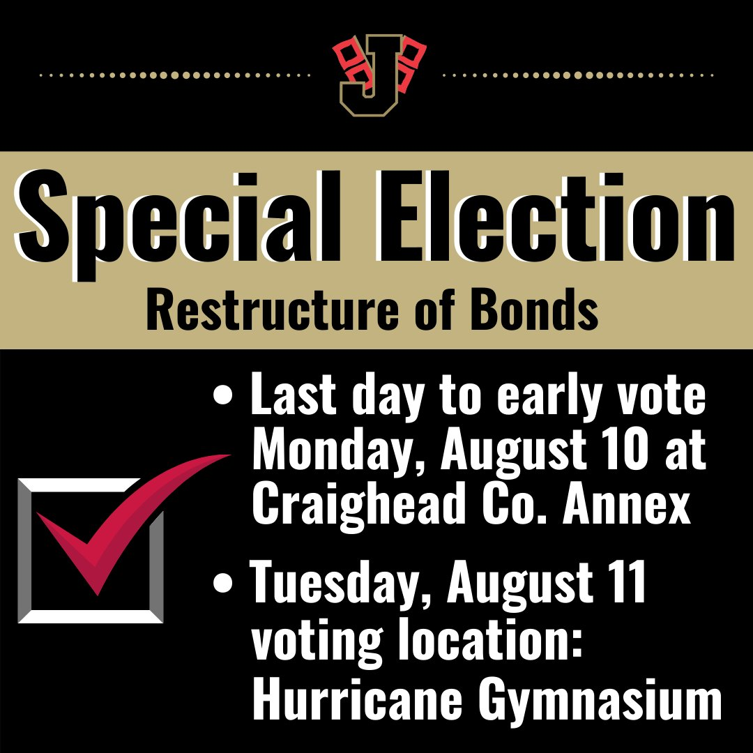 Today, Mon., Aug. 10 is the last day to early vote for the JPS Special Election. Today you can vote at the Craighead County Annex, 315 W. Jefferson. Tomorrow, voting will take place at Hurricane Gym. Please share with those that live in JPS District. Thank you. RT