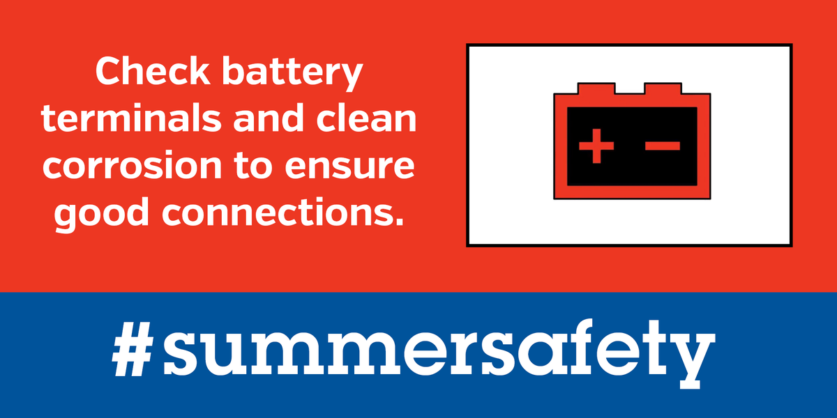 When was the last time you checked your car battery? 🔋  According to AAA, a car battery will typically last three to five years. Before your summer ends, check your battery. #summersafety #drivesmartMS