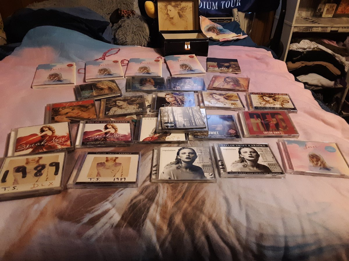How is it that #taylorswift has 8 albums yet most #swifties beds look like this?! Lol #swiftie #istandwithtaylorswift #folklore @taylornation13 @taylorswift13
