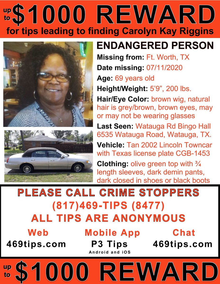 We are asking #MediaOutlets and the public to share this #MissingPerson flyer again on your timelines.   Please call us anonymously with any information at 817-469-8477 or 817-392-4222.