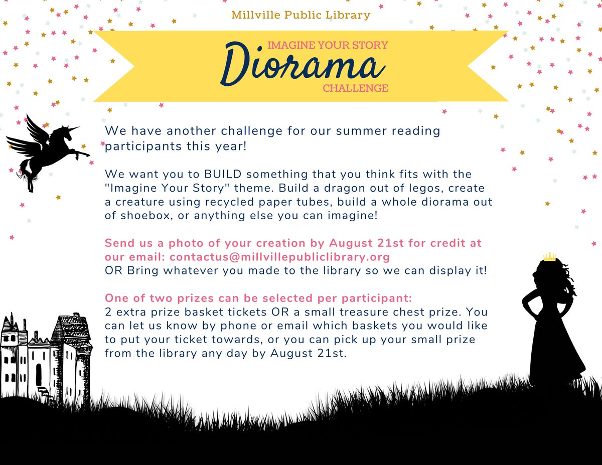 We have another challenge for you for Summer Reading! This time we want you to BUILD something that fits in with the #ImagineYourStory theme! Email us your photos of your creations for a chance to win either 2 extra prize basket tickets OR a small treasure chest prize!