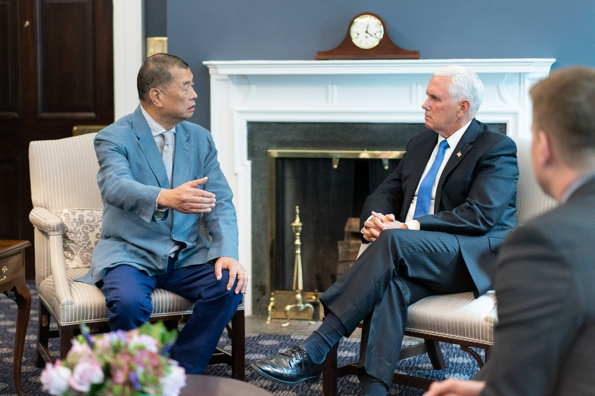 The arrest of @JimmyLaiApple in Hong Kong is deeply offensive & an affront to freedom loving people around the world. When I met w/ Jimmy Lai @WhiteHouse, I was inspired by his stand for democracy & the rights & autonomy that were promised to the people of Hong Kong by Beijing.